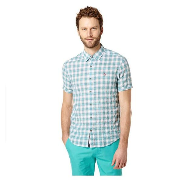 Original Penguin Men's Crinkle Seersucker Short Sleeve Shirt