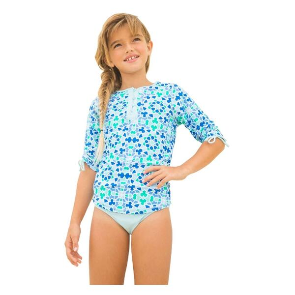 Cabana Life Girl's Seaglass Swim And Rashguard Set