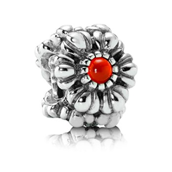 337212-PANDORA Birthday Bloom July with Carnelian Charm RETIRED