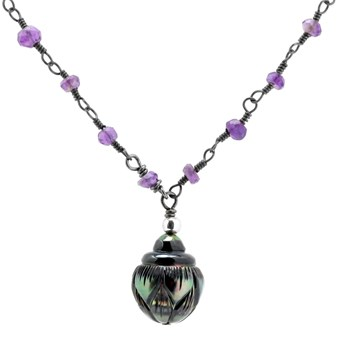 Black Pearl & Amethyst Necklace-235-513