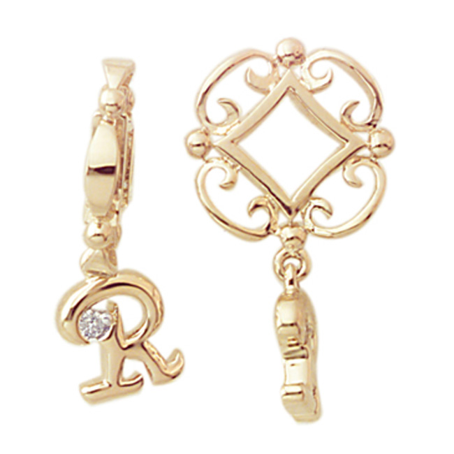 285513-Storywheels Initials 'R' Dangle with Diamond 14K Gold Wheel-ONLY 1 LEFT!