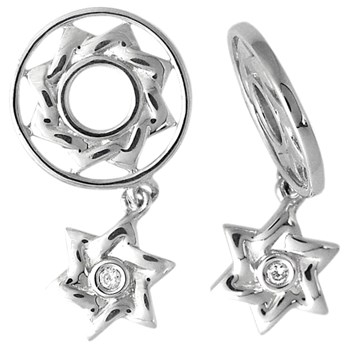 337777-Storywheels Diamond Star of David Dangle Sterling Silver Wheel RETIRED ONLY 1 LEFT!