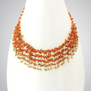 348546-Carnelian & Pyrite Necklace