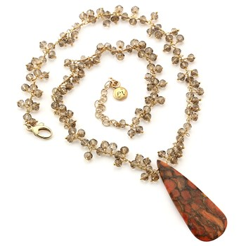 349344-Smokey Quartz & Coral Drop Necklace