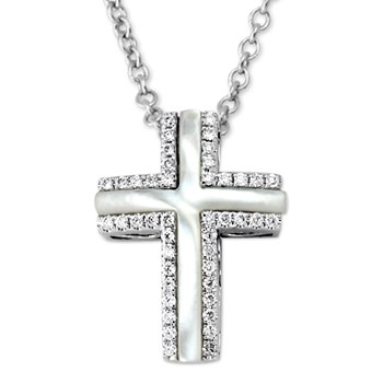 345011-White Luna Cross Pendant