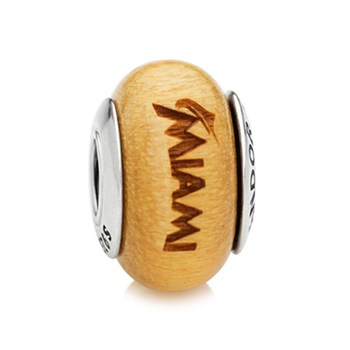PANDORA Miami Marlins Baseball Wood Charm RETIRED