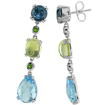 Blue Topaz, Limon Quartz & Tsavorite Earrings-341988