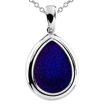 Cobalt Drusy Teardrop Necklace-341995