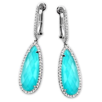 339564-White Topaz Turquoise Teardrop Earrings