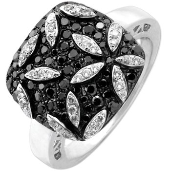 160-262-Flower Black & White Diamond Ring
