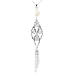 Silver Lace and Pearl Necklace-341328