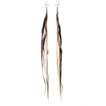 342863-White and Brown Extra Long Feather Earrings
