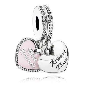 PANDORA Best Friends with Soft Pink Enamel and Clear CZ Dangle