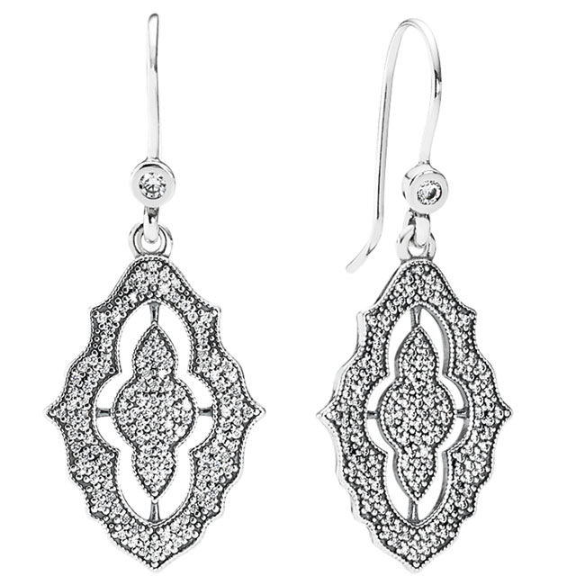 348210-PANDORA Sparkling Lace with Clear CZ Dangle Earrings