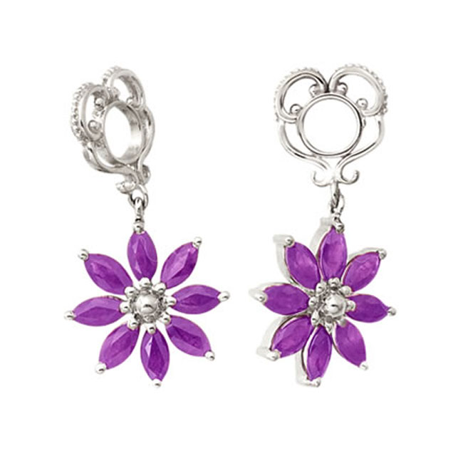 271103-Storywheels Amethyst Poinsettia Dangle 14K White Gold Wheel RETIRED LIMITED QUANTITIES!