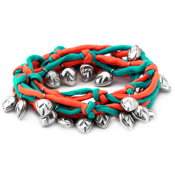 341218-Teal & Coral-Colored Silk Bracelet