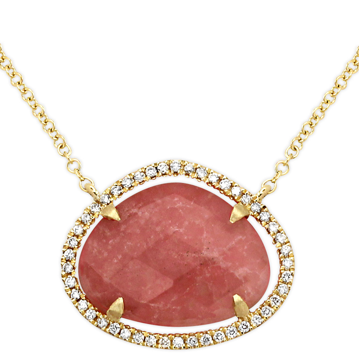 342298-Pink Rhodonite and Diamond Necklace