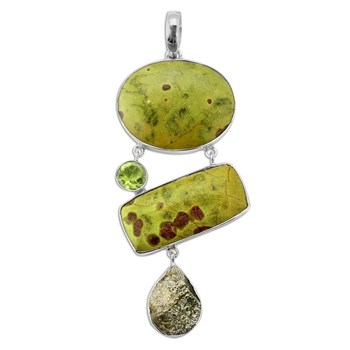 347446-Stichtite, Spectropyrite and Peridot Pendant