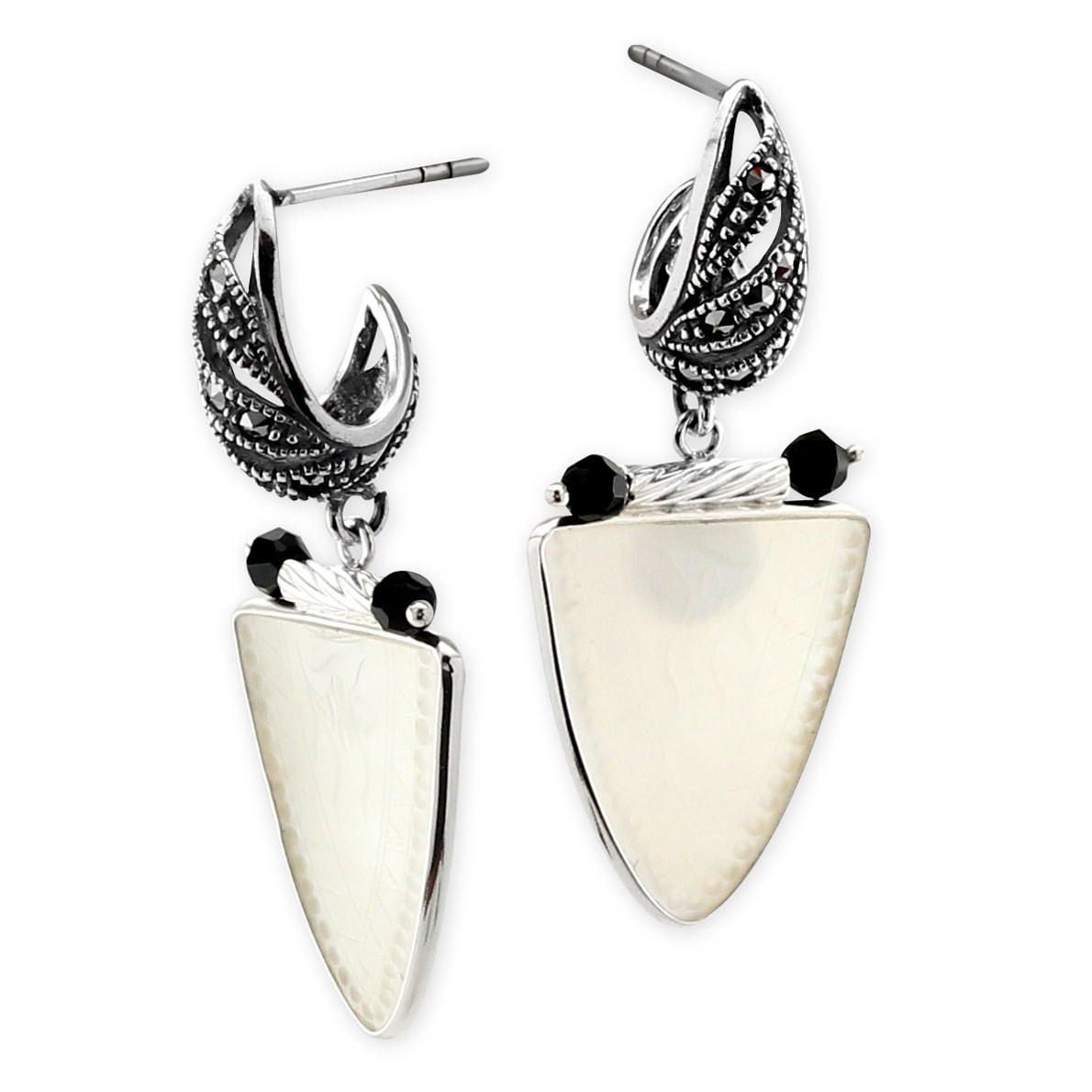 341786-Donna Chambers Gambling Chip and Marcasite Earrings