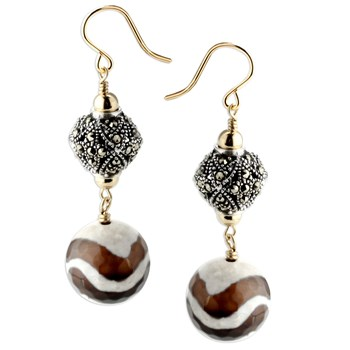 344691-Marcasite & Zebra Agate Earrings