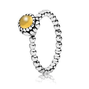 PANDORA Citrine November Birthday Bloom Stackable Ring