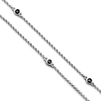 White Gold & Black Diamond Necklace-343327