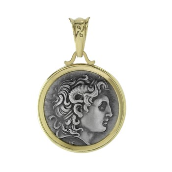 605-1123-Greek Drachma Coin Pendant