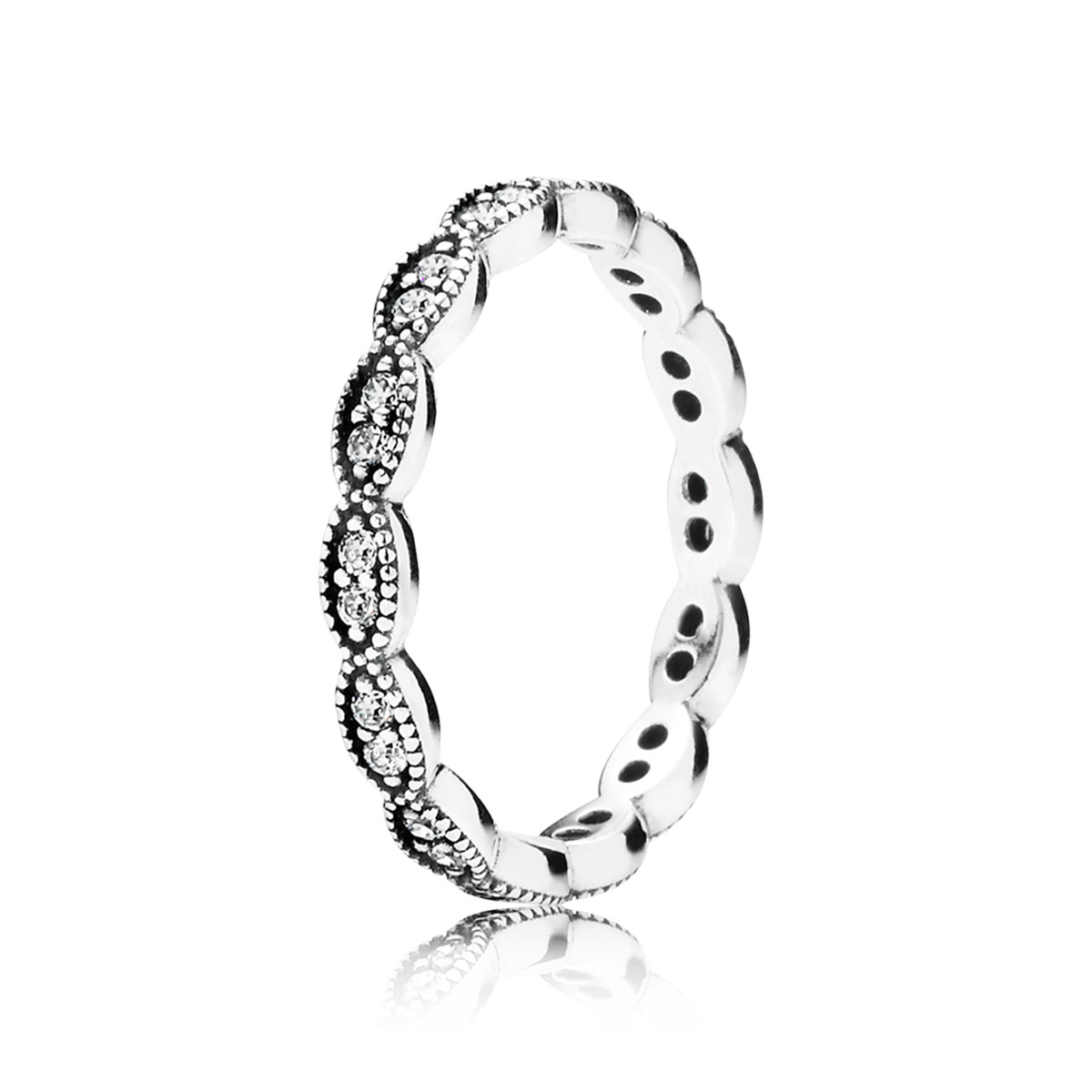 PANDORA Sparkling Leaves with Clear CZ Stackable Ring