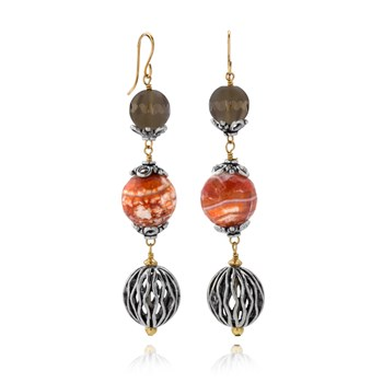 Smokey Quartz & Agate Earrings