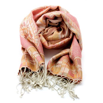 Pink & Orange Patterned Silk Shawl-340042