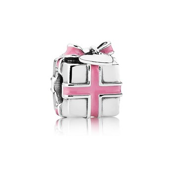 345487-PANDORA Wrapped with Love with Pink Enamel Charm *PANDORA Shop in Shop Exclusive*