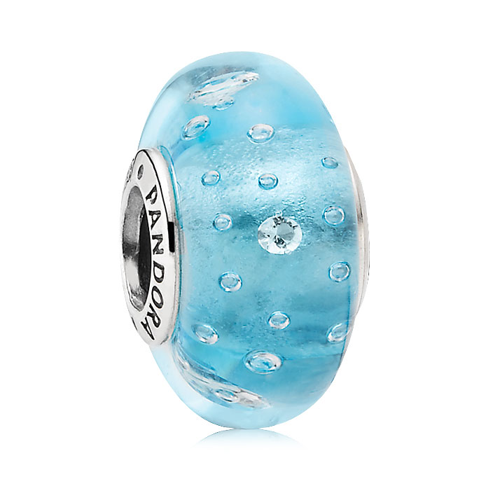 344246-PANDORA Blue Effervescence with Clear CZ Murano Glass
