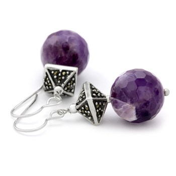 210-705-Amethyst & Marcasite Earrings