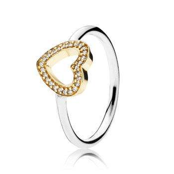 PANDORA Symbol of Love with Clear CZ and 14K Ring RETIRED LIMITED QUANTITIES!