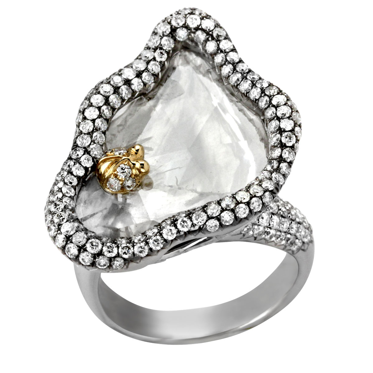 340049-Raw Diamond & White Gold Ring