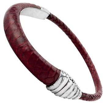 Sterling Silver Clasp with Red Rooster Leather Bracelet 342816