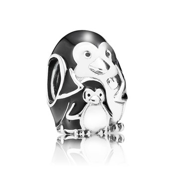 PANDORA Penguin Family with Black Enamel Charm RETIRED LIMITED QUANTITIES!