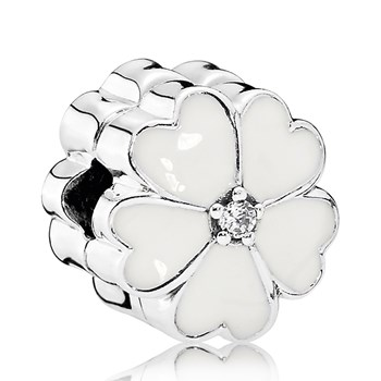 PANDORA White Primrose with White Enamel and Clear CZ Clip