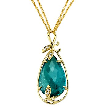 Green Tourmaline Pendant Necklace-344993