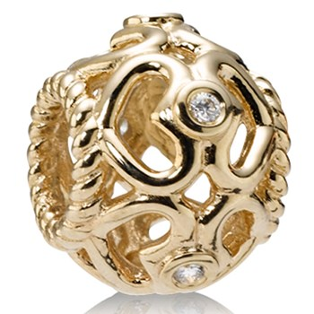 PANDORA 14K Open Heart with Diamonds Charm-333171