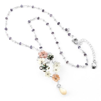 348501-Labradorite & Mixed Mother of Pearl Necklace