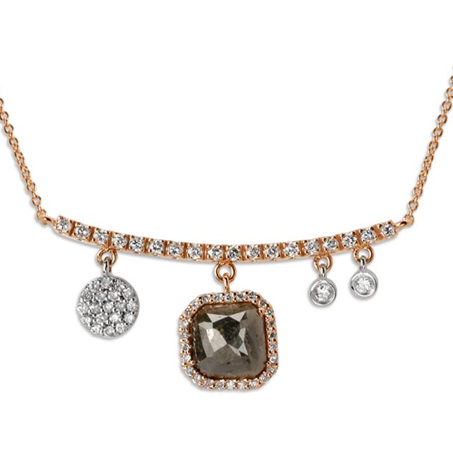 338572-Asymetrical Raw Cut Diamond with Rose Gold Necklace