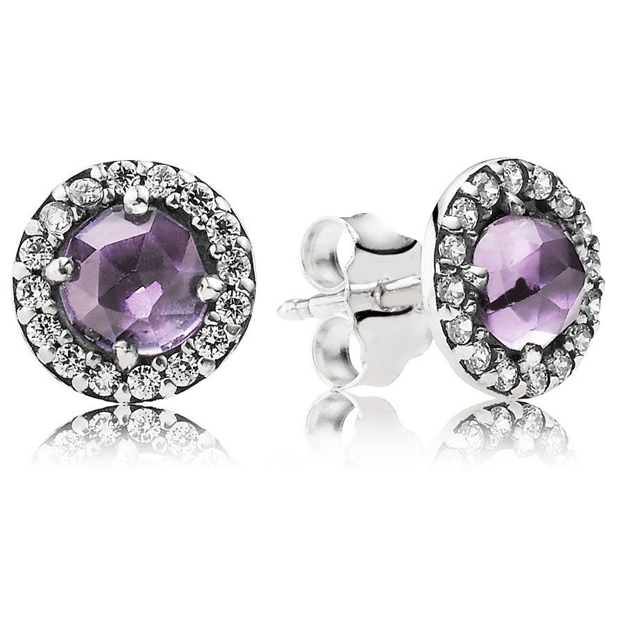 PANDORA Glamorous Legacy with Amethyst and Clear CZ Stud Earrings-344333
