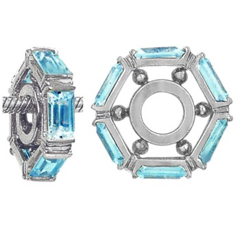 333347-Storywheels Swiss Blue Topaz Large Baguette Sterling Silver Wheel ONLY 3 AVAILABLE!