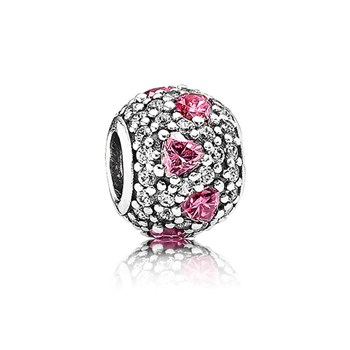 PANDORA Shimmering Heart with Fancy Pink and Clear CZ Charm-345481