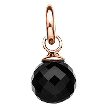 346898-STORY by Kranz & Ziegler Rose Gold Plated Faceted Onyx Globe Charm