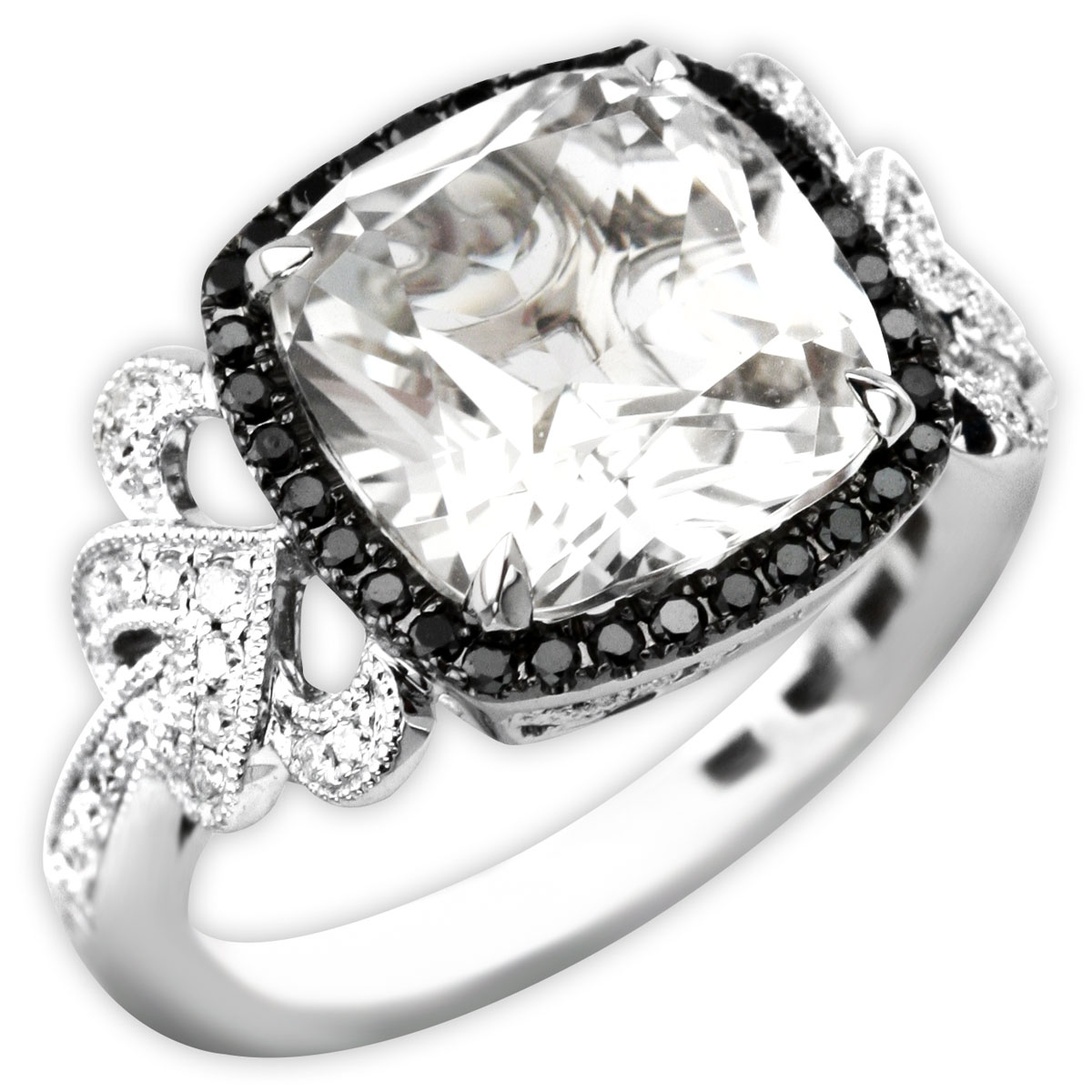 339573-White Topaz & Diamond Ring