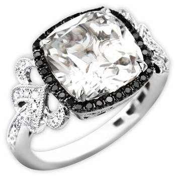 White Topaz & Diamond Ring-339573