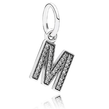 PANDORA Letter M with Clear CZ Pendant-346448