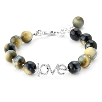 "345903-Lollie Tigers Eye ""Love"" Bracelet"